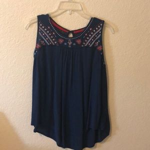 Red, white and blue summer blouse